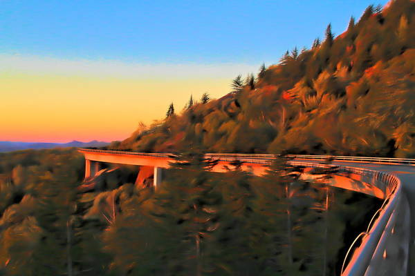 Traveler Mixed Media - The Linn Cove Viaduct At Sunrise by Dan Sproul