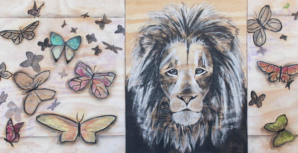 Amber Drawing - The Lion And The Butterflies by Amber Ellison