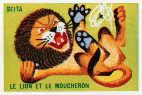 Folklore Wall Art - Digital Art - The Lion And The Gnat French Matchbox Label by Retro Graphics