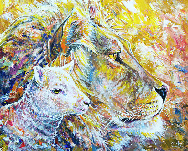 Painting - The Lion And The Lamb by Aaron Spong