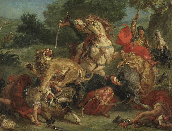 Perilous Wall Art - Painting - The Lion Hunt by Ferdinand Victor Eugene Delacroix