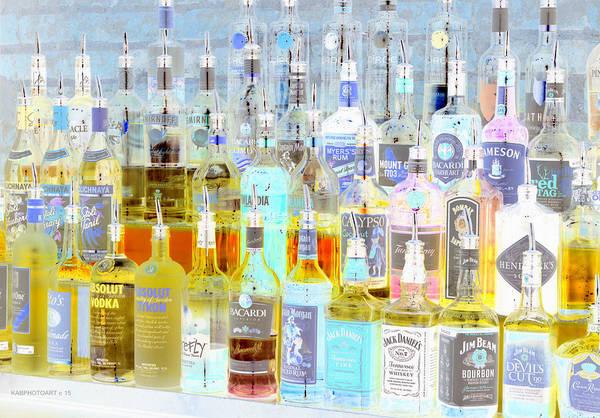 Bar Tender Photograph - The Liquor Cabinet by Kathy Barney