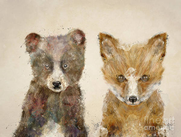 Fox Painting - The Little Bear And Little Fox by Bri Buckley