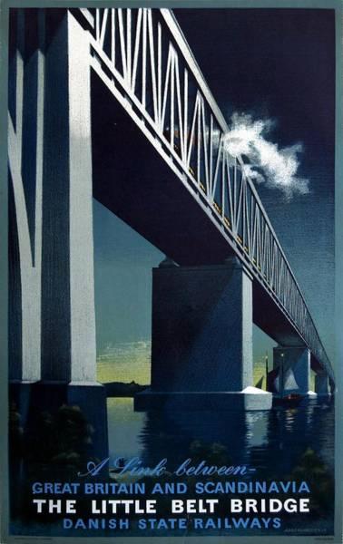 Bridge Mixed Media - The Little Belt Bridge - Danish State Railways - Retro Travel Poster - Vintage Poster by Studio Grafiikka