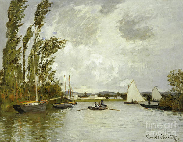 Signature Painting - The Little Branch Of The Seine At Argenteuil by Claude Monet