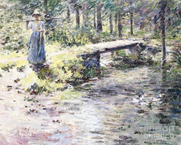 Wall Art - Painting - The Little Bridge  The Brook by Theodore Robinson
