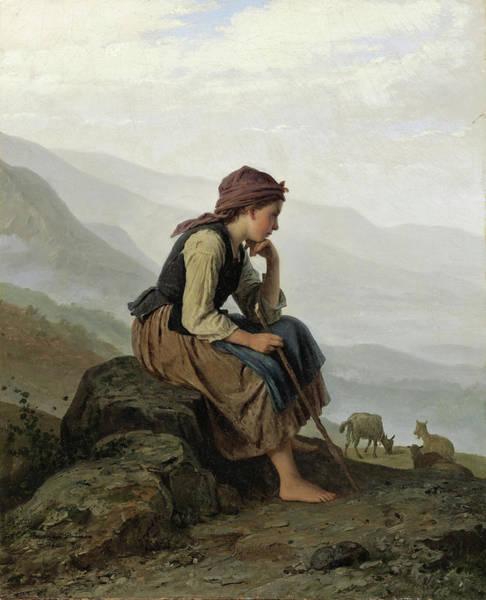 Meyer Painting - The Little Goat Herder by Johann Georg Meyer von Bremen