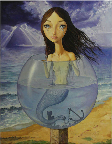 Wall Art - Painting - The Little Mermaid by Adrian Borda