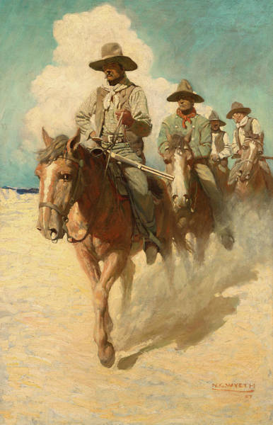 Beyond Painting - The Little Posse Started Out On Its Journey, The Wiry Marshal First-1 by Newell Convers Wyeth
