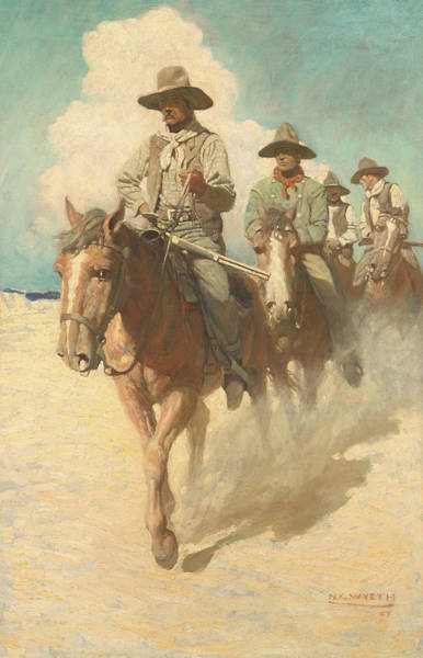 Beyond Painting - The Little Posse Started Out On Its Journey, The Wiry Marshal First by Newell Convers Wyeth