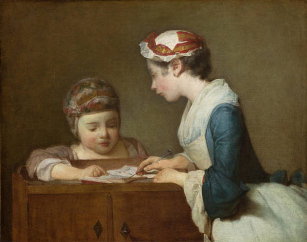 Painting - The Little Schoolmistress by Jean Simeon Chardin