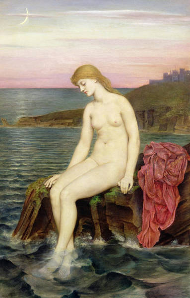 Pensive Painting - The Little Sea Maid  by Evelyn De Morgan