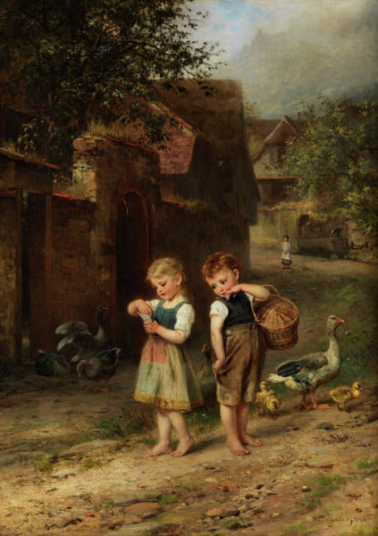 Eve Painting - The Little Shepherd Geese by Anton Heinrich Dieffenbach