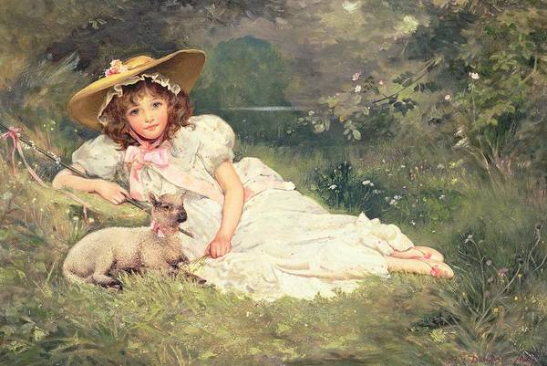 Pool Painting - The Little Shepherdess by Arthur Dampier May