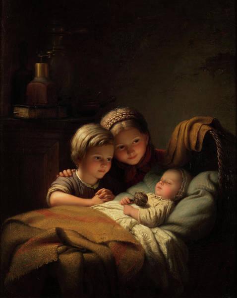 Bremen Wall Art - Painting - The Little Sleeping Brother by Johann Georg Meyer von Bremen