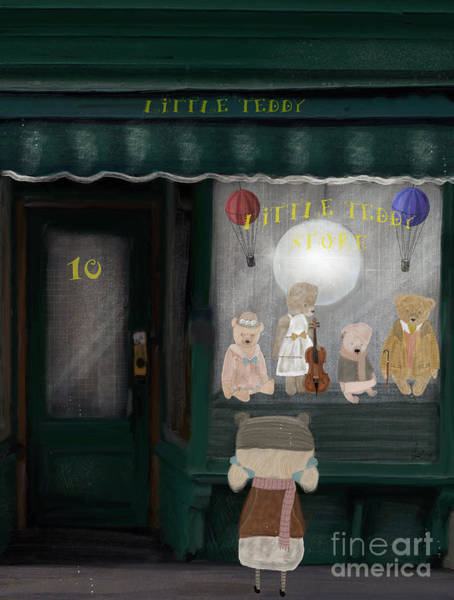 Teddy Bear Painting - The Little Teddy Store by Bri Buckley