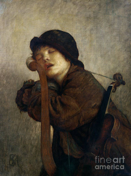 Infant Painting - The Little Violinist Sleeping by Antoine Auguste Ernest Hebert