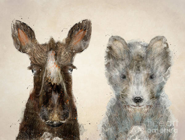 Cub Painting - The Little Wolf And Moose by Bri Buckley