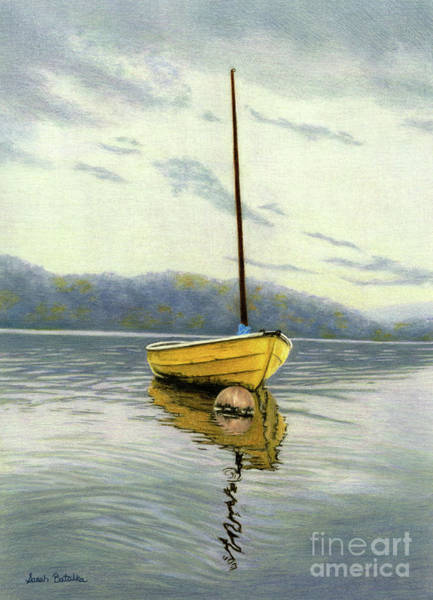 Mountain Lake Painting - The Yellow Sailboat by Sarah Batalka