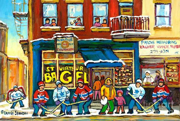 Painting - The Local Bagel Shop Hockey Painting Winter Fun Montreal Memories Canadian Art Carole Spandau        by Carole Spandau