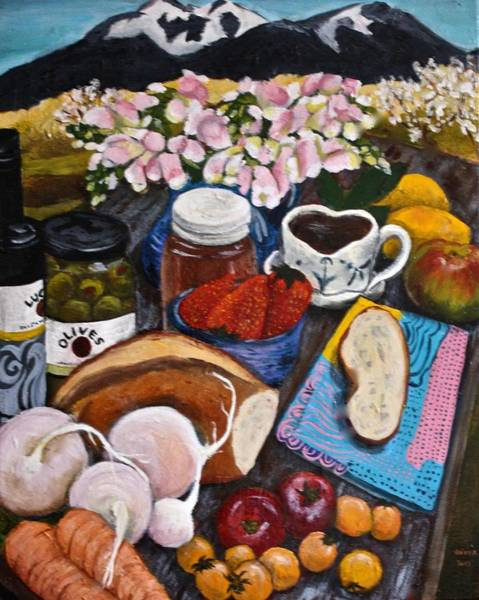 Snapdragons Painting - The Local Table by Gitta Brewster
