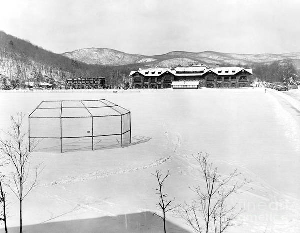 Brooklyn Dodgers Photograph - The Location For The Brooklyn Dodgers Spring Training, Bear Mountain Inn, Is Covered In Snow. 1943 by Barney Stein