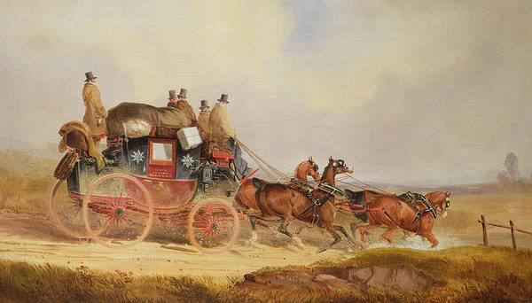 Delivering Painting - The London To Louth Royal Mail by Charles Cooper Henderson
