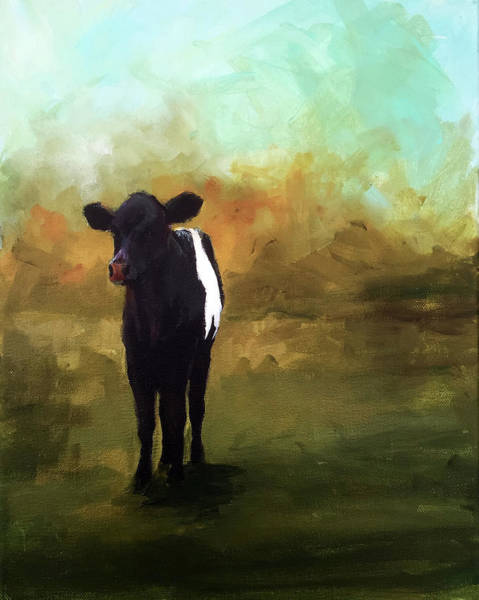 Galloway Wall Art - Painting - The Lone Beltie by Cari Humphry