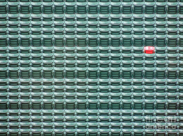 Red Sox Photograph - The Lone Red Seat At Fenway Park by Keith Ptak