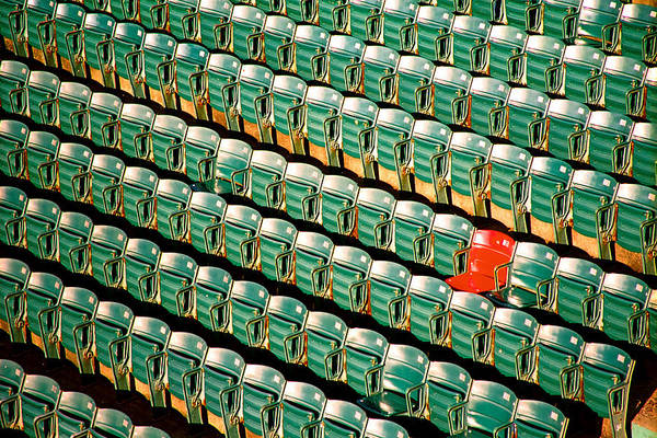 Fenway Photograph - The Lone Red Seat by Claude Taylor