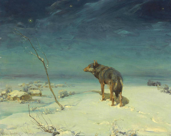 Painting - The Lone Wolf by Alfred Kowalski