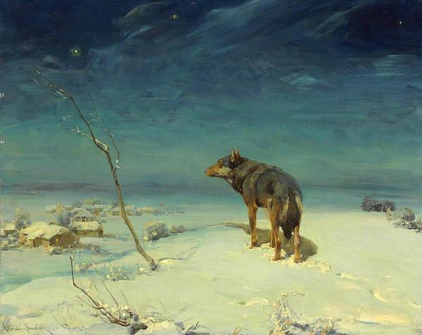 Lone Star Painting - The Lone Wolf by Alfred Wierusz-Kowalski