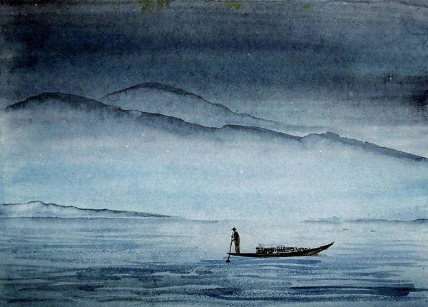 Painting - The Lonely Boat Man by Asha Sudhaker Shenoy
