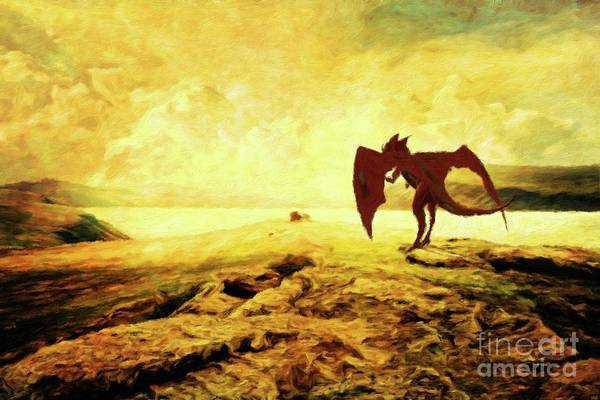 Kabbalah Painting - The Lonely Dragon By Mary Bassett by Mary Bassett