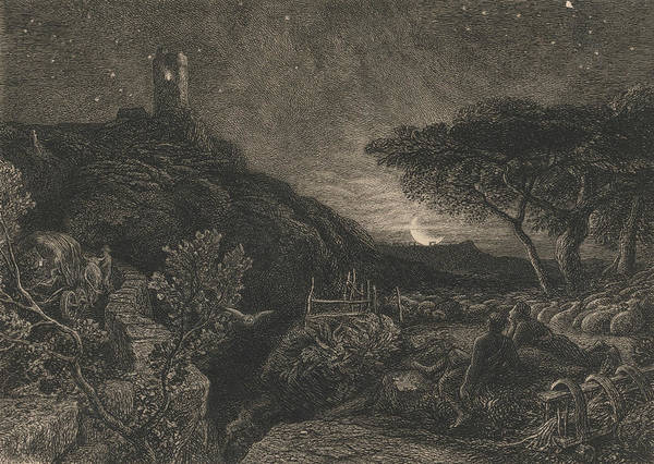 Relief - The Lonely Tower by Samuel Palmer