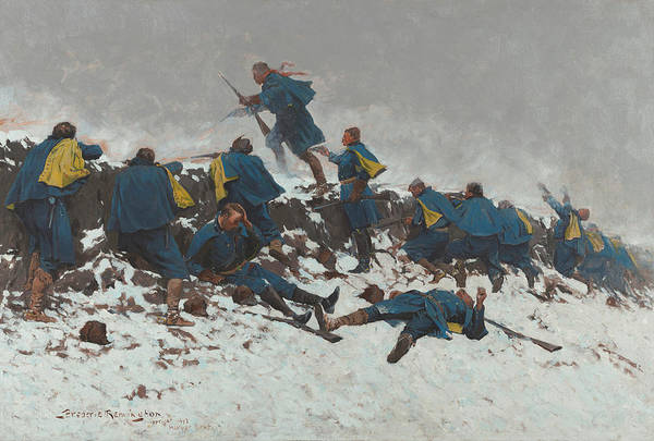 Daring Painting - The Long-through The Smoke Sprang The Daring Soldier by Frederic Remington