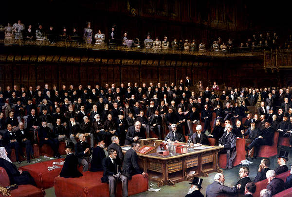Westminster Painting - The Lord Chancellor About To Put The Question In The Debate About Home Rule In The House Of Lords by English School