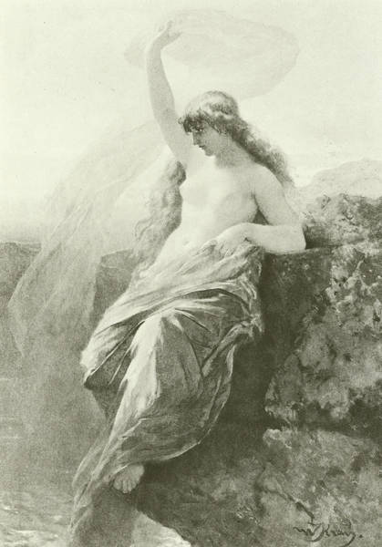 Nymph Drawing - The Lorelei  by Wilhelm Kray