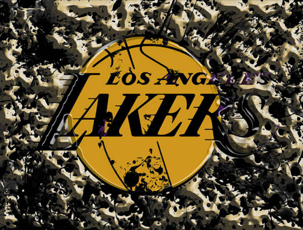 Wall Art - Mixed Media - The Los Angeles Lakers B3a by Brian Reaves