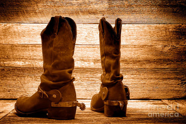 Wall Art - Photograph - The Lost Boots - Sepia by Olivier Le Queinec