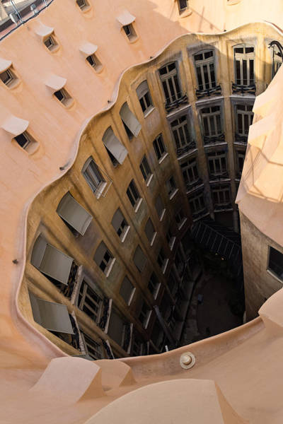 Photograph - The Lost Straw Hat - Antoni Gaudi La Pedrera Courtyard From Above - Vertical by Georgia Mizuleva