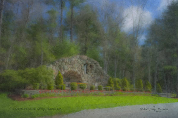 Painting - The Lourdes Grotto At Stonehill College by Bill McEntee