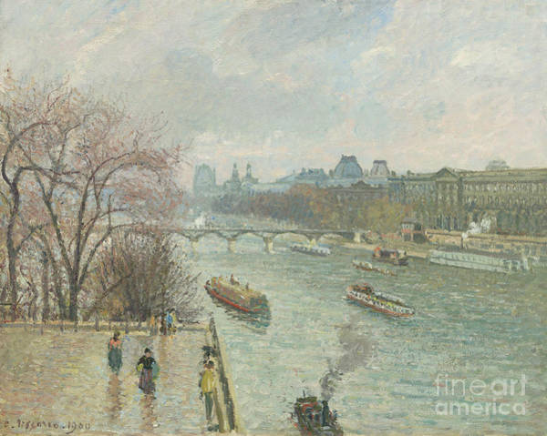 Wall Art - Painting - The Louvre, Afternoon, Rainy Weather, 1900  by Camille Pissarro