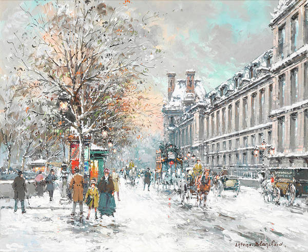 Wall Art - Painting - The Louvre-winter by Antoine Blanchard