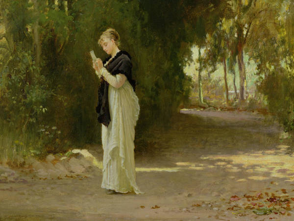 Woman Reading Wall Art - Painting - The Love Letter by Marcus Stone