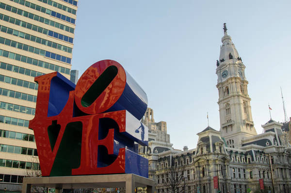 Wall Art - Photograph - The Love Statue And City Hall - Philadelphia Pa by Bill Cannon