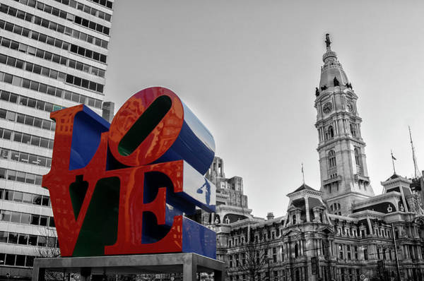 Wall Art - Photograph - The Love Statue And City Hall - Selective Color by Bill Cannon
