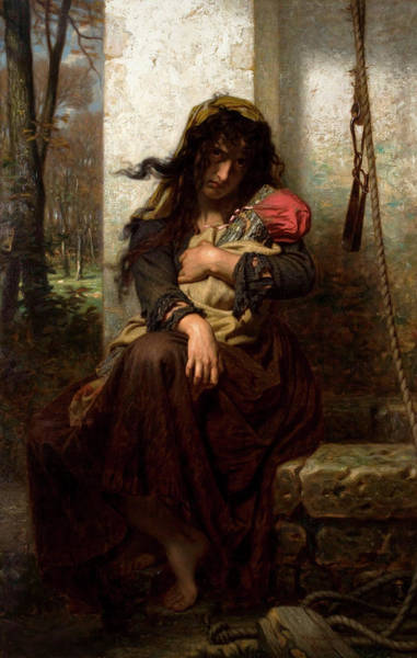 Wall Art - Painting - The Lunatic Of Etretat by Hugues Merle