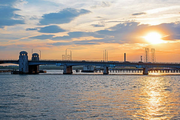 Photograph - The Lynn Bridge At Sunset Lynn Ma Revere Ma Sun by Toby McGuire