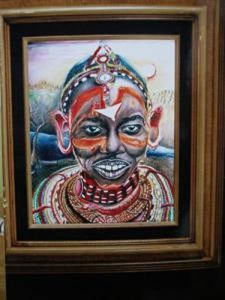 Wall Art - Drawing - The Maasai Head Jewelry by Dunbar's Modern Art